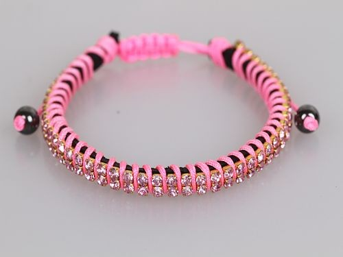 Two Row Crystal Neon Pink Friendship Bracelet